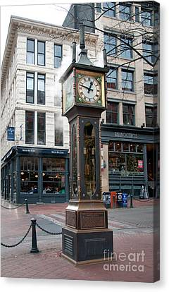 Gastown Steam Clock Canvas Print by Carol Ailles