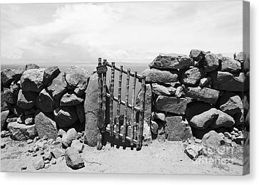 Gate Overlooking Lake Titicaca Canvas Print by Darcy Michaelchuk