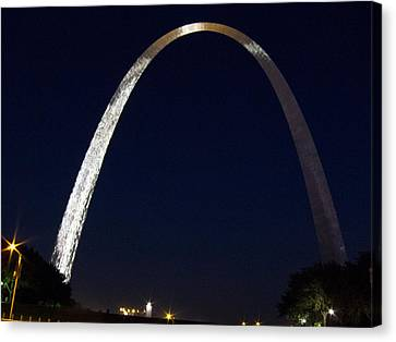 Canvas Print featuring the photograph Gateway Arch At Night by Nancy De Flon