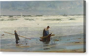 Gathering Driftwood Canvas Print by William Lionel Wyllie