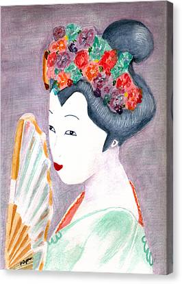 Canvas Print featuring the painting Geisha by Paula Ayers
