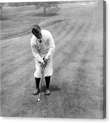 Canvas Print featuring the photograph Gene Sarazen Playing Golf by International  Images