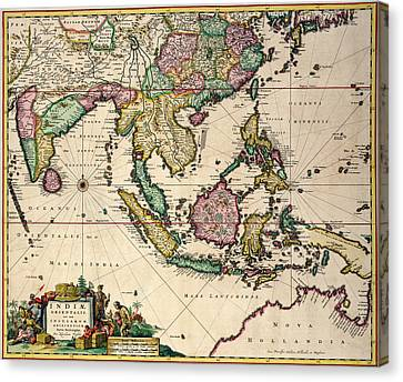 General Map Extending From India And Ceylon To Northwestern Australia By Way Of Southern Japan Canvas Print by Nicolaes Visscher Claes Jansz