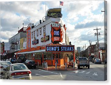 Geno's Steaks - South Philadelphia Canvas Print by Bill Cannon
