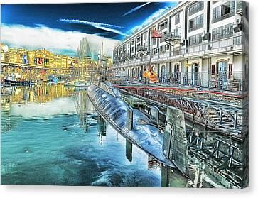 Genoa Canvas Print - Genova Nazario Sauro Italian Navy U Boat At The Galata Sea Museum by Enrico Pelos