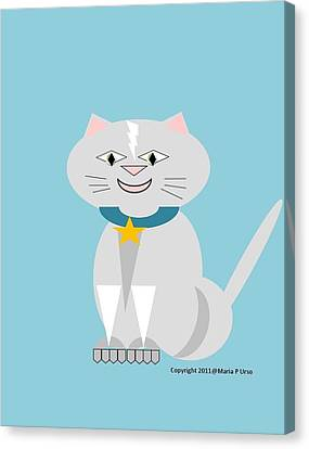 Geo Smiley Cat Canvas Print by Maria Urso