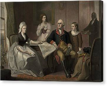 George And Martha Washington Sitting Canvas Print