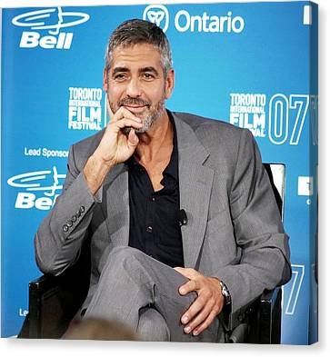 George Clooney At The Press Conference Canvas Print