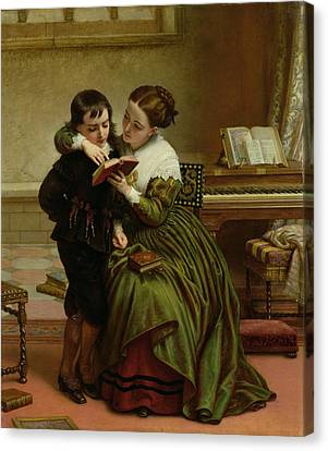 George Herbert And His Mother Canvas Print by Charles West Cope