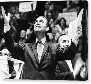 George Wallace Acknowledges The Cheers Canvas Print by Everett