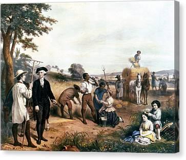 George Washington As A Farmer, Standing Canvas Print by Everett
