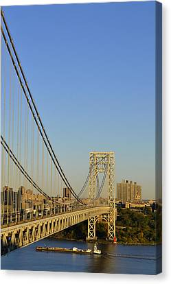 George Washington Bridge And Boat Canvas Print by Zawhaus Photography
