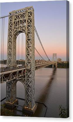 George Washington Bridge At Sunset Canvas Print by Zawhaus Photography