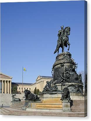 George Washington Statue At The Philadelphia Art Museum Canvas Print by Brendan Reals