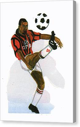 George Weah In Action Canvas Print by Emmanuel Baliyanga