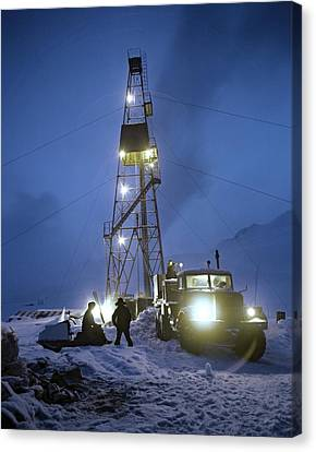 Snowy Night Night Canvas Print - Geothermal Power Station Drilling by Ria Novosti