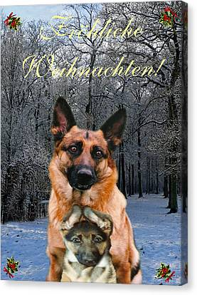 Friend Holiday Card Canvas Print - German Card Holiday German Shepherd And Puppy by Eric Kempson