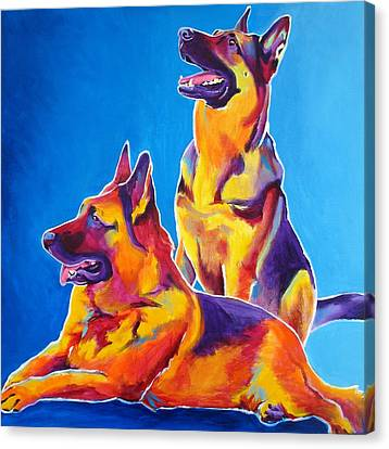 German Shepherd - Eiko And Erin Canvas Print by Alicia VanNoy Call