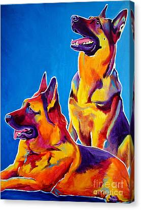 German Shepherd - Eiko And Erin Crop Canvas Print by Alicia VanNoy Call