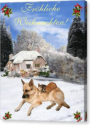 Friend Holiday Card Canvas Print - German Shepherd Holiday German Christmas by Eric Kempson