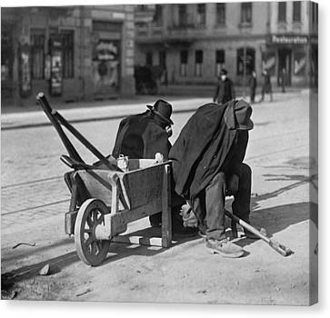 German Street Sweepers Taking Lunchtime Canvas Print by Everett