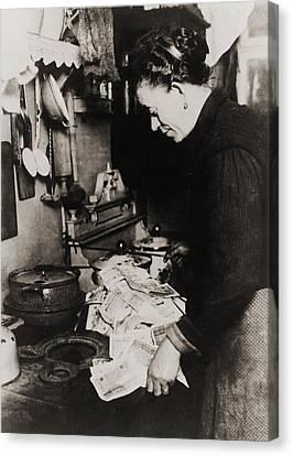 German Women Burning Money To Fuel Canvas Print by Everett
