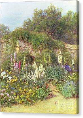 Hollyhock Canvas Print - Gertrude Jekyll's Garden by Helen Allingham