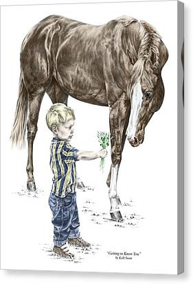 Canvas Print featuring the drawing Getting To Know You - Boy And Horse Print Color Tinted by Kelli Swan