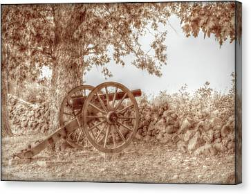 Gettysburg Battlefield Cannon Seminary Ridge Sepia Canvas Print by Randy Steele