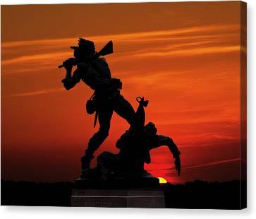 Gettysburg Battlefield Mississippi Memorial Sunset Canvas Print by Randy Steele