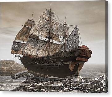 Ghost Ship Of The Cape Canvas Print by Lourry Legarde