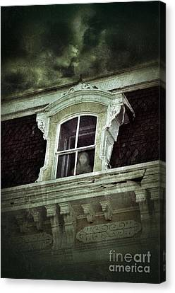 Ghostly Girl In Upstairs Window Canvas Print by Jill Battaglia