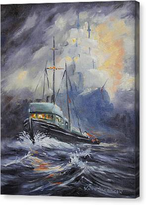 Canvas Print featuring the painting Ghosts Of The Seas by Kurt Jacobson