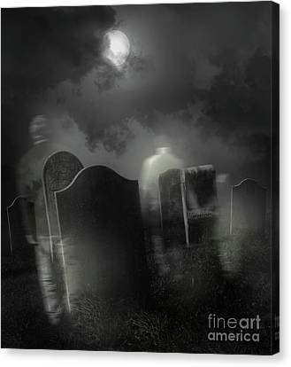 Ghosts Wandering In Old Cemetery  Canvas Print by Sandra Cunningham