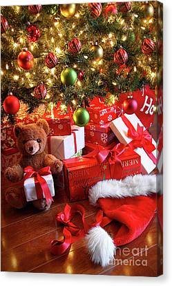 Gifts Under The Tree For Christmas Canvas Print by Sandra Cunningham