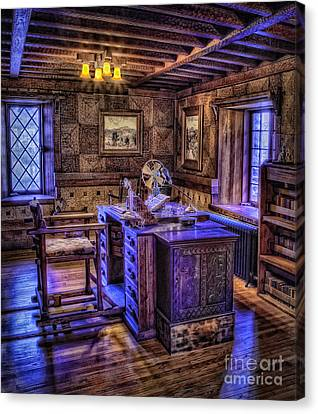 Woodcarving Canvas Print - Gillette Castle Office Hdr by Susan Candelario