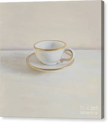 Gilt Cup On White Marble Canvas Print by Paul Grand