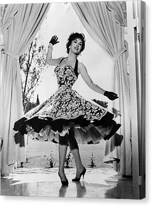 Gina Lollobrigida At Her Villa Canvas Print