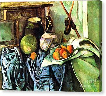 Ginger Jar And Eggplants Canvas Print by Pg Reproductions