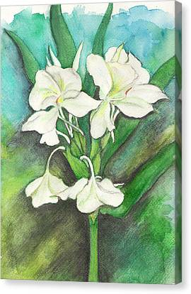 Canvas Print featuring the painting Ginger Lilies by Carla Parris