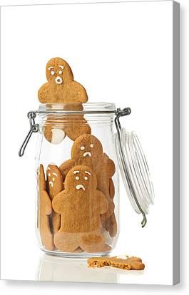 Gingerbread Men Escape Canvas Print by Amanda Elwell