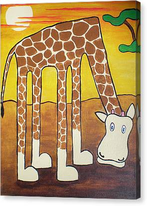 Canvas Print featuring the painting Giraffe by Sheep McTavish