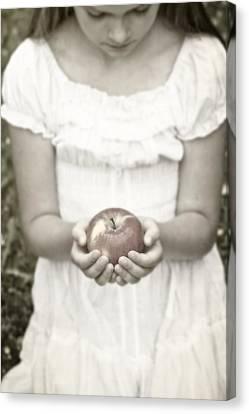 Girl And Apple Canvas Print by Joana Kruse