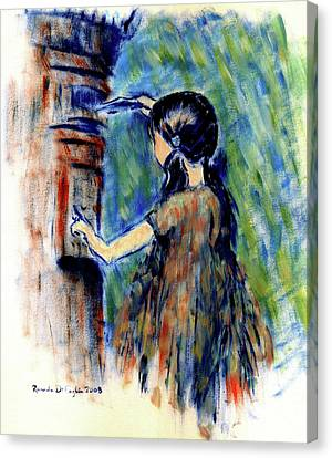 Girl And Letter Box Canvas Print by Ricardo Di ceglia