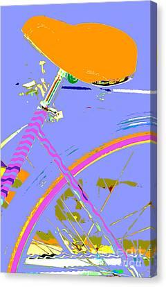 Girl Bicycle Pop Art Canvas Print by ArtyZen Studios