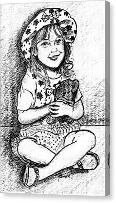 Girl Charcoal Portrait Canvas Print by Rom Galicia