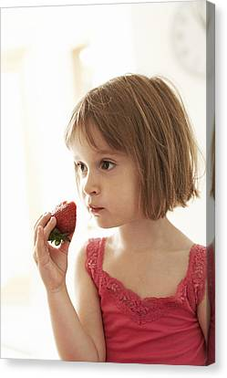 Four Strawberries Canvas Print - Girl Eating A Strawberry by Ian Boddy