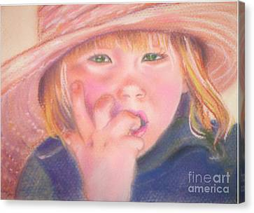 Girl In Straw Hat Canvas Print by Julie Brugh Riffey