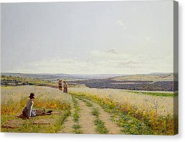 Girl In The Fields   Canvas Print by Jean F Monchablon