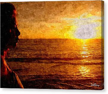 Girl In The Sunset Painting Canvas Print by Zoh Beny